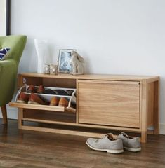 NewEst Shoe Storage Bench - Oak at STORE. Stylish wooden shoe storage cabinet in an oak finish. Holds up to 12 pairs. Wood Shoe Storage, Entryway Bench Storage, Shoe Storage Cabinet, Bench With Shoe Storage, Diy Storage, Shoe Storage Design, Hallway Shoe Storage, Small Storage, Storage Ideas