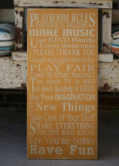 Playroom Rules Sign Typography Word Art by barnowlprimitives. $95.00, via Etsy.