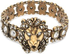 Gucci Lion Head Bracelet With Crystals - Farfetch Gucci Jewelry, Fashion Jewelry, Fashion Bracelets, Gucci Gifts, Crystal Fashion, Ancient Jewelry, Clear Crystal, Fascinator, Jewelry Collection