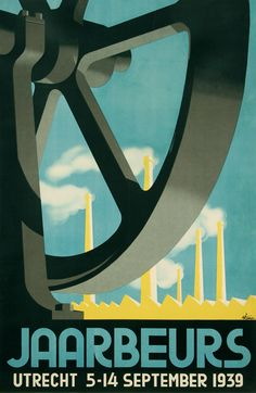 Welcome to the machine... Jaarbeurs Utrecht Industrial Fair Holland stone lithograph 1939 via @deptofdev
