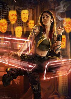Cyberpunk / shadowrun character inspiration for a a decker / hacker / female tech character aurore-folny-g17nr-16658-elesmokescovak-aurorefolny.jpg (1000×1400)