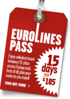 Eurolines Pass: Enjoy unlimited travel between 51 cities across Europe and, best of all, plan you route as you travel! 15 days from €18...