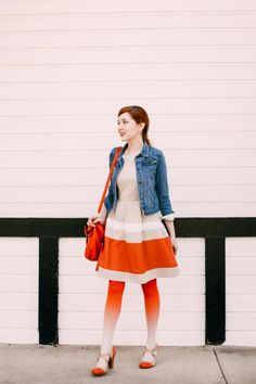 Outfit: Ombre - A Clothes Horse Ombre Tights, Orange Tights, Colored Tights Outfit, Camo Dress, Patterned Tights, Fashion Gallery, Clothes Horse, Modcloth, Striped Dress