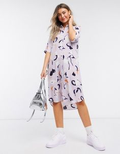 Monki Damira art print midi shirt dress in pink Midi Shirt Dress, Monki, Art Prints, Casual, Diy, Dresses, Asos, Shirts, My Love