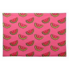 Summer Watermelon on Pink Pattern Cloth Placemat - kitchen gifts diy ideas decor special unique individual customized