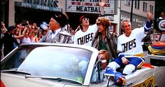 The Charlestown Chiefs' victory parade. Slap Shot, Victory Parade, Ice Hockey, Pennsylvania, Victorious, Movie Tv, Comedy, Entertainment, Sports
