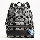 COACH Signature Stripe Backpack F19451 Black/White