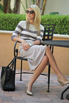 taupe and gray outfit