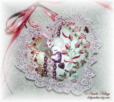 Valentine Hanging Heart Door Pillow Crazy Quilt Hand by Kittyandme, $29.00