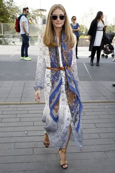 Hack: Add extra dimension to your simple white dress by adding a long silk scarf and a leather belt.