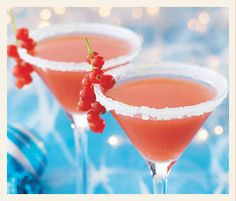 Santa's hat cocktail    For this non-alcoholic cocktail, dip the rim of a martini glass into water, then into a plate of sugar to create the 'fluff' on Santa's hat.  Fill with 50ml cranberry juice drink mixed with 25ml freshly squeezed orange juice and garnish with redcurrants.