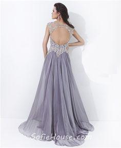 Long Grey Chiffon Bridesmaid Dress   ... Neck Cap Sleeve Backless Long Grey Chiffon Beaded Prom Dress Open Back