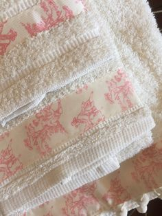 Classic Toile Towel Set So soft and adorable! This towel set consists of a full size bath towel, a hand towel and a wash cloth. Made from an ultra soft terry cloth and featuring a classic toile scene trim. Available in two styles: green toile and pink toile. Please feel free to Towel Set, Washing Clothes, Hand Towels, Vintage Items, Scene, Bath, Gift Ideas, Embroidery, Classic