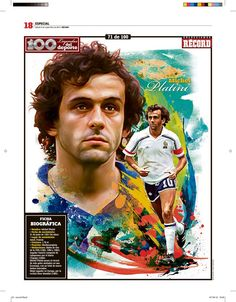 Michel Platini 100 Leyendas del Deporte / 100 Sports Legends by Jesús R. Sánchez, via Behance