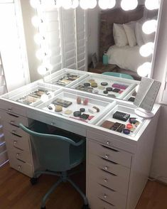 Impressions vanity GlowXLPro & SlayStation with Ikea Alex drawers. - - Impressions vanity GlowXLPro & SlayStation with Ikea Alex drawers. ❤️❤️❤️ Eyelashes Tips Styles Tutorial 2019 Eyelashes ideas Tips and Tutorials for W. Ikea Makeup Vanity, Makeup Vanities, Make Up Vanity Ikea, Organize Vanity, Makeup Drawer, Hollywood Vanity Mirror, Vanity Mirrors, Mirrored Vanity, Hollywood Makeup