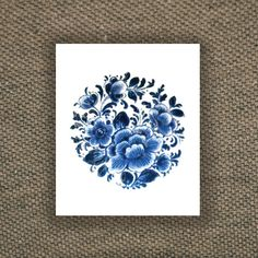 idea. w/ poppies Temporary round 'Delfts Blauw' floral tattoo by Tattoorary on Etsy
