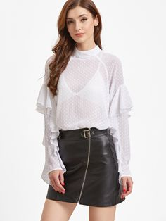 Shop White Keyhole Back Ruffle Raglan Sleeve Polka Dot Jacquard Top online. SheIn offers White Keyhole Back Ruffle Raglan Sleeve Polka Dot Jacquard Top & more to fit your fashionable needs.