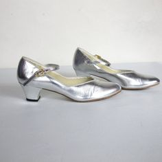 60s Barbettes Dancewear Silver Mary Janes 65 by honeymoonmuse