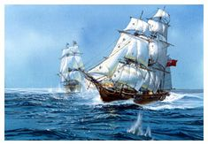 privateers  Image: Two frigates engaged in sea battle. (National Park Service, Harpers Ferry Center Commissioned Art Collection; artist Thomas Freeman)