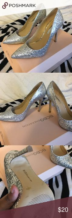BCBGeneration silver sparkly heels Silver sparkly heels only worn once... the ideal prom/event shoe Shoes Heels