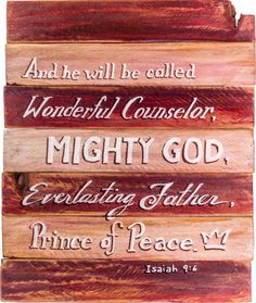 Isaiah 9:6 hand painted on wooden shim canvas