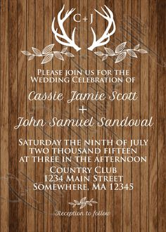 Printable or Printed Wood & White Deer Antler Rustic Wedding Invitation Set.  FREE SHIPPING IN US on printed invitations! (for international printed invitation orders please contact for shipping price prior to purchase)  When ordering from my shop you have 2 purchase options  1)