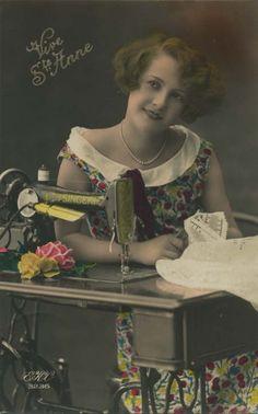 Vintage sewing lady
