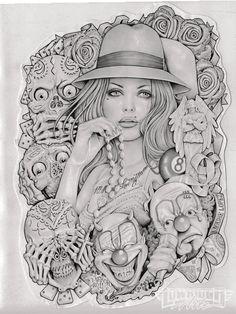 Old School Girl by Mouse Lopez Tattooed Latina Woman Canvas Art Print – moodswingsonthenet Arte Cholo, Cholo Art, Chicano Art Tattoos, Kunst Tattoos, Chicano Tattoos Gangsters, Chicano Drawings, Old School Girl, Prison Art, Tachisme