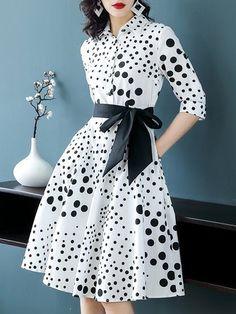 Plus Size Shirt Collar Women White A-line Date Elegant Bow Polka Dots Dress d6054371e97