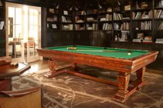 This Brunswick Newbury Pool Table looks stately in the library. Olhausen Pool Table, Brunswick Pool Tables, Brunswick Billiards, Family Leisure, Extra Rooms, Home Entertainment, Pool Houses, Game Room, Basement Ideas