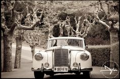 Arriving in style for the wedding reception at Masia Mas Coll, Alella Barcelona