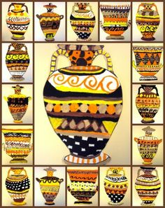 Plastiquem: Greek pottery using geometric and abstract shapes, and tempera paint. These are lovely: