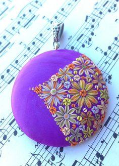 Polymer Clay - Purple Dream Pendant by Cherrychestnuts