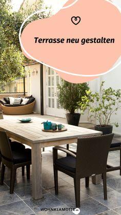WOHNKLAMOTTE inspiriert Dich mit Ideen rund um Terrasse und Balkon. In unserem Artikel erfährst Du, wie Du Deine Terrasse neu gestalten kannst. Outdoor Furniture Sets, Outdoor Decor, Home Decor, Balcony, Round Round, Homes, Ideas, Decoration Home, Room Decor