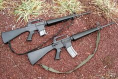 The 20 round, and the 30 round magazine face off. Which one looks better to you? I like the 20 rounder personally, but for actual use, give me 30 rounds baby. M16 Rifle, Assault Rifle, Zombie Survival Guide, Assault Weapon, Cool Guns, Military Weapons, Guns And Ammo, Firearms, Vietnam