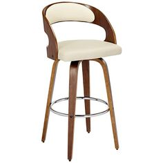 Nice Shelly Cream and Bent Wood Barstool