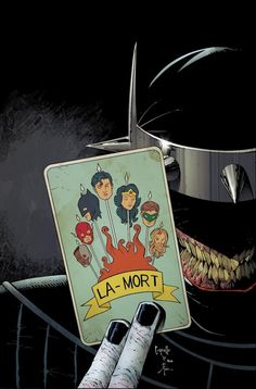The Batman Who Laughs is the Dark Knight of Earth -22, and the chosen herald of Barbatos. He was infected by a nanotoxin in the Joker's bloodstream upon his enemy's death, and the combination of the Joker's depravity and Bruce Wayne's tactical mind created the deadliest villain his planet had ever seen.
