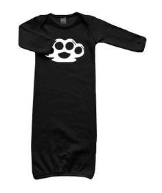 Brass Knuckles LS Layette Gown (black)