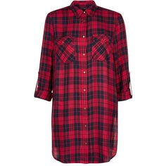 Red Longline Split Side Check Shirt (47 CAD) via Polyvore featuring tops, red top, all-over print shirts, relax shirt, checkered shirt and long line shirt