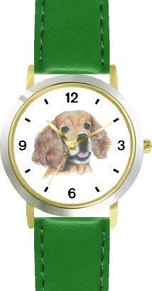 Cocker Spaniel JP Dog - WATCHBUDDY® DELUXE TWO-TONE THEME WATCH - Arabic Numbers - Green Leather Strap-Children's Size-Small ( Boy's Size & Girl's Size ) WatchBuddy. $49.95