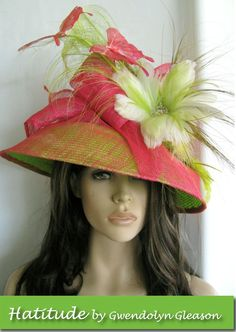 """Kentucky Derby Hat """"Natures garden""""with flowers & butterflies Hatitude by Gwendolyn Gleason #KyDerby"""