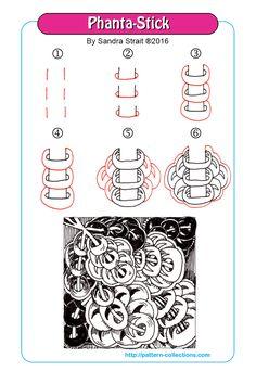 Phanta-Stick  tangle pattern by Sandra Strait    PatternCollections.com