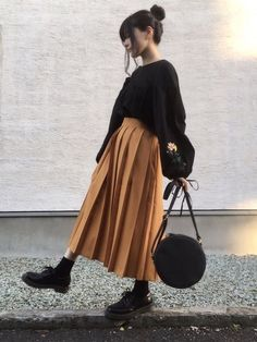 Skirt Outfits Korean Winter 64 Ideas For 2019 - Yersq Sites Japanese Fashion, Asian Fashion, Look Fashion, Korean Girl Fashion, Grunge Fashion, Mode Outfits, Casual Outfits, Fashion Outfits, Long Skirt Outfits
