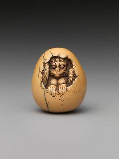 Netsuke of Bird in an Egg Date: 19th century Culture: Japan Medium: Ivory