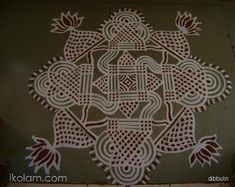 This is a freehand maakolam with kaavi. Hope you all like it. Indian Rangoli Designs, Rangoli Designs Latest, Rangoli Border Designs, Small Rangoli Design, Rangoli Ideas, Beautiful Rangoli Designs, Rangoli Borders, Kolam Rangoli, Rangoli Painting