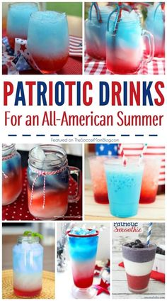 A collection of 20 Red White and Blue drink recipes perfect for your Memorial Day or of July party. Can be made for kids or grown-ups! Blue Drinks, Kid Drinks, Blue Cocktails, Frozen Drinks, Party Drinks, Summer Drinks, Beverages, Party Favors, Holiday Drinks
