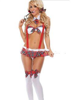Women Sexy Erotic Lingerie Student Uniform Temptation Cosplay Schoolgirl Sexy Costumes Underwear Nightwear Top + Skirt @5k