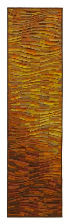 Tangerine Wave Banner by Tim Harding. Textured fiber wall piece made in a multi-layered, reverse applique technique of iridescent, lustrous, hand-loomed Indian silks on a two-ply cotton duck backing. Signed on reverse at bottom. Installation hanging bar included.