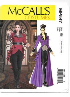 UNCUT McCalls 7641 Halloween Costume sewing pattern Once Upon A Time's Evil Queen Regina size Free Cosplay, Cosplay Diy, Cosplay Costumes, Costume Dress, Cosplay Ideas, Fantasy Cosplay, Fantasy Costumes, Fantasy Dress, Halloween Costume Sewing Patterns