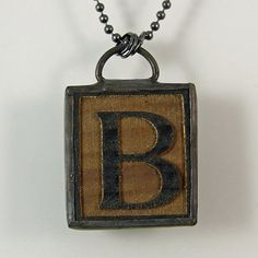 Letter B Pendant Necklace by XOHandworks $25